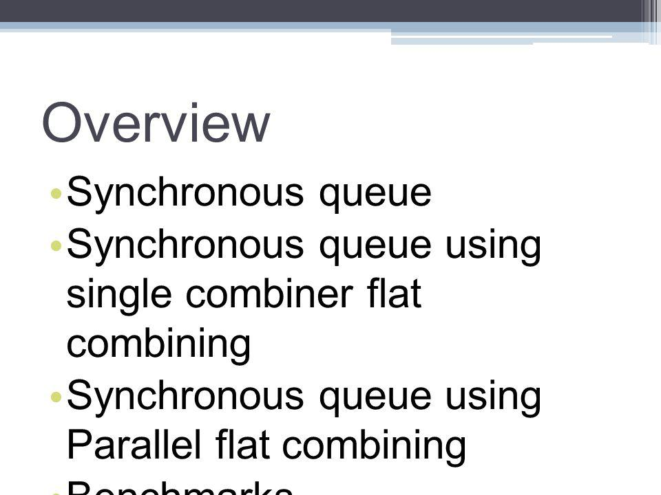 Overview Synchronous queue Synchronous queue using single combiner flat combining Synchronous queue using Parallel flat combining Benchmarks