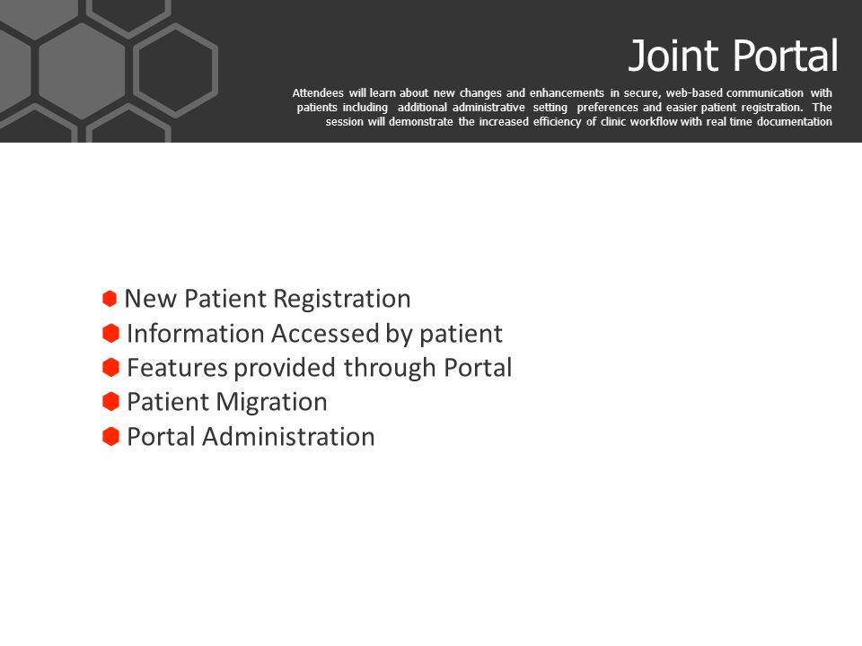 New Patient Registration Enter Demographics, include email address Patient Portal Tab (Portal Access/Resend portal registration e-mail) registers patient Patient receives registration link on the registered email id Patient selects the registration link and proceeds with creating account Patient can create desired user id as well as password Select Facility from list of other Providers on e-MDs