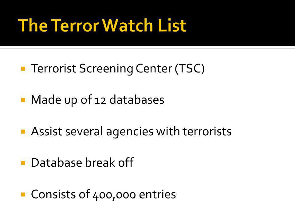 Terrorist Screening Center (TSC) Made up of 12 databases Assist several agencies with terrorists Database break off Consists of 400,000 entries