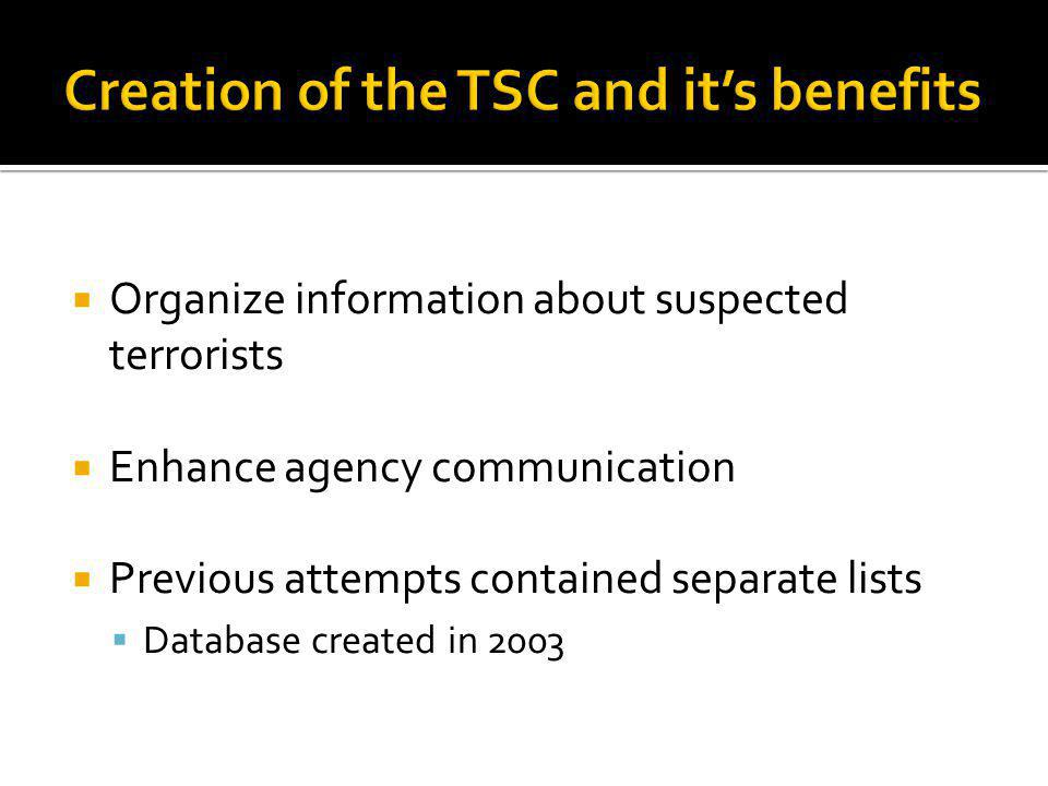 Organize information about suspected terrorists Enhance agency communication Previous attempts contained separate lists Database created in 2003