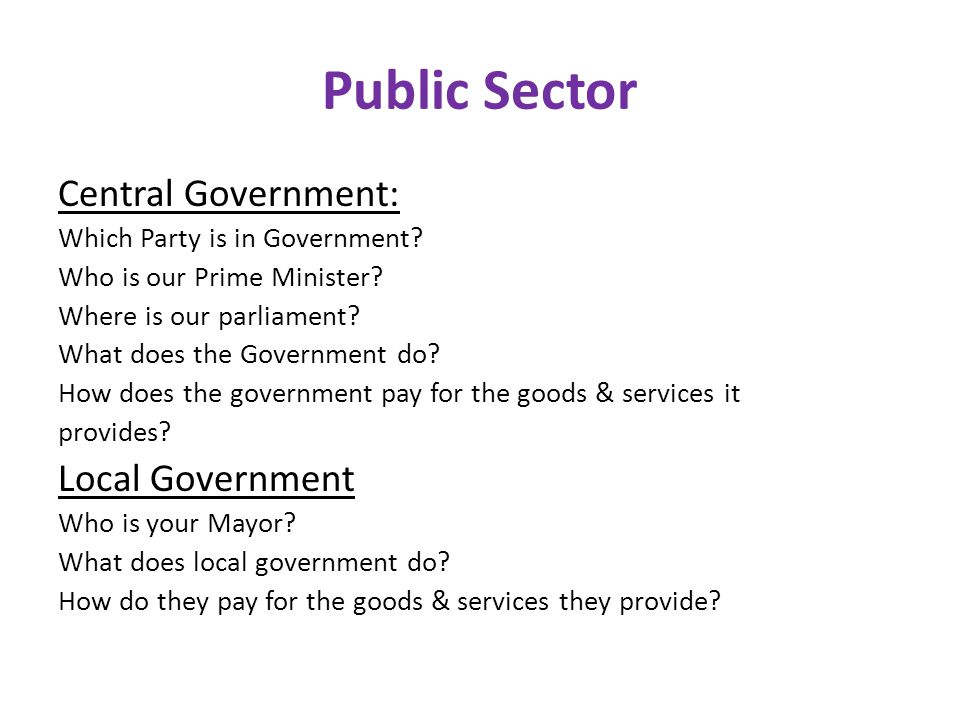 Public Sector Central Government: Which Party is in Government.