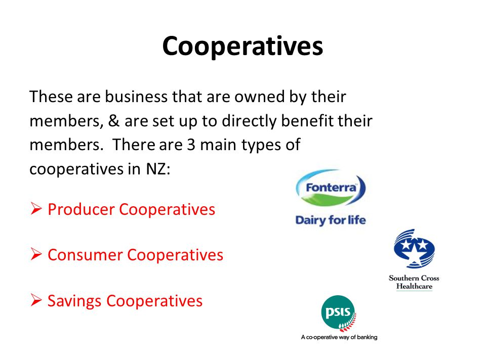 Cooperatives These are business that are owned by their members, & are set up to directly benefit their members.