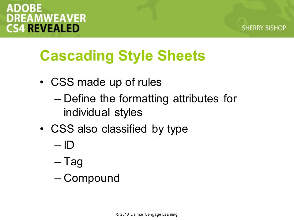 © 2010 Delmar Cengage Learning Cascading Style Sheets CSS made up of rules –Define the formatting attributes for individual styles CSS also classified by type –ID –Tag –Compound