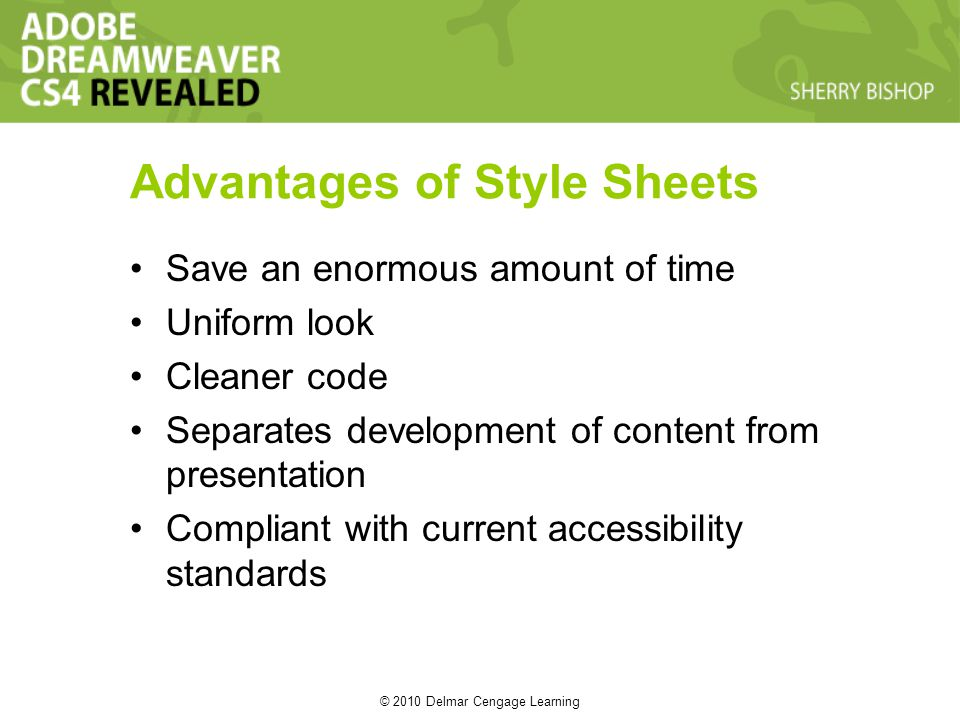 © 2010 Delmar Cengage Learning Advantages of Style Sheets Save an enormous amount of time Uniform look Cleaner code Separates development of content from presentation Compliant with current accessibility standards