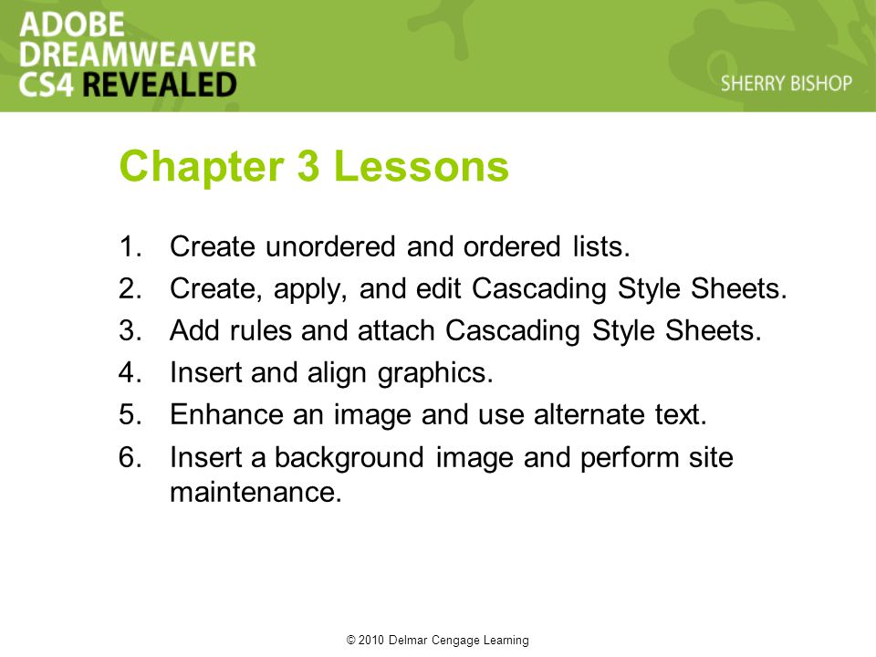 © 2010 Delmar Cengage Learning Chapter 3 Lessons 1.Create unordered and ordered lists. 2.Create, apply, and edit Cascading Style Sheets. 3.Add rules a