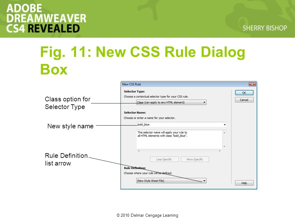 © 2010 Delmar Cengage Learning Fig. 11: New CSS Rule Dialog Box Class option for Selector Type New style name Rule Definition list arrow