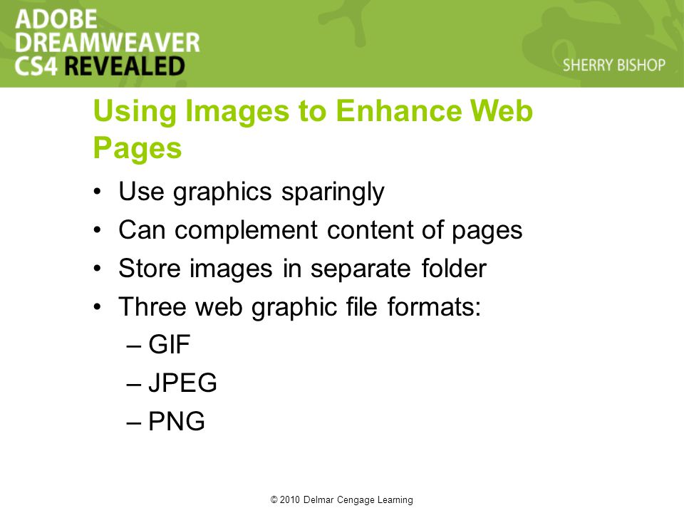 © 2010 Delmar Cengage Learning Using Images to Enhance Web Pages Use graphics sparingly Can complement content of pages Store images in separate folde