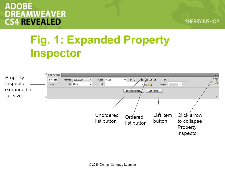 © 2010 Delmar Cengage Learning Fig. 1: Expanded Property Inspector Property Inspector expanded to full size Unordered list button Ordered list button