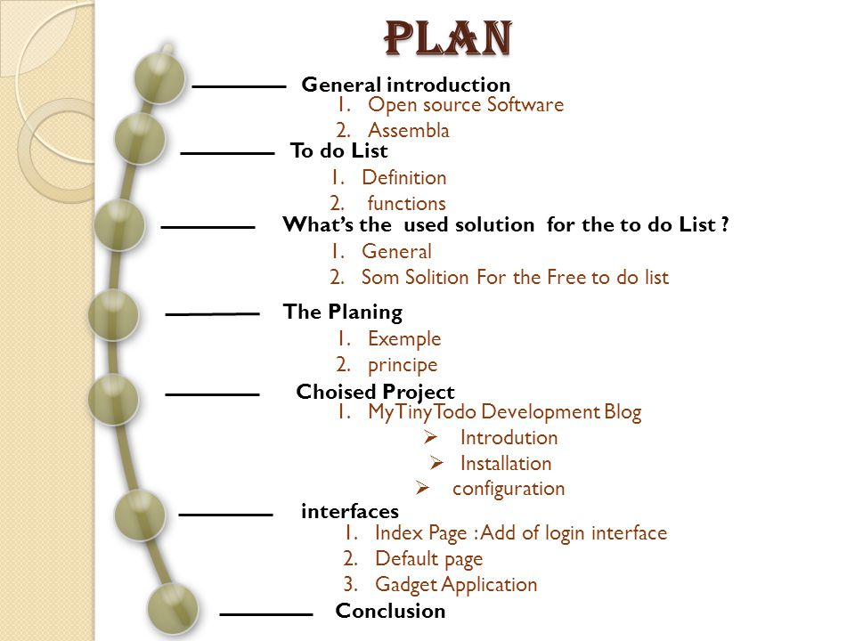 General introduction To do List Whats the used solution for the to do List .