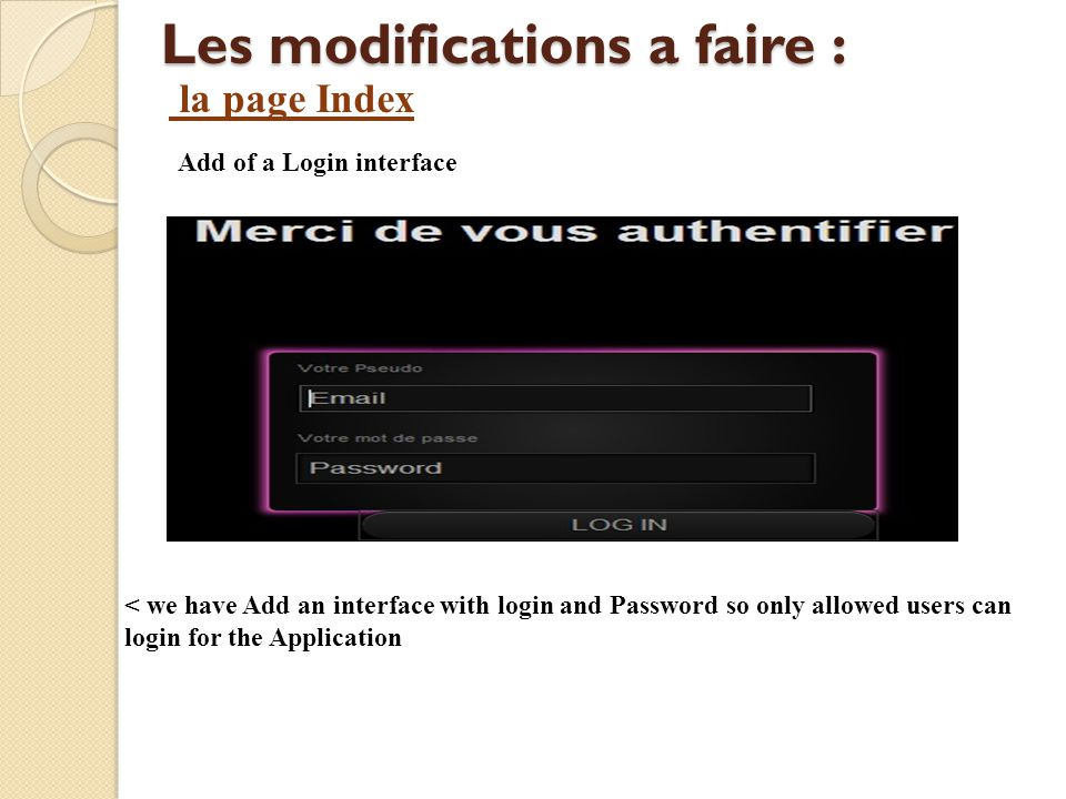 Les modifications a faire : Add of a Login interface < we have Add an interface with login and Password so only allowed users can login for the Applic