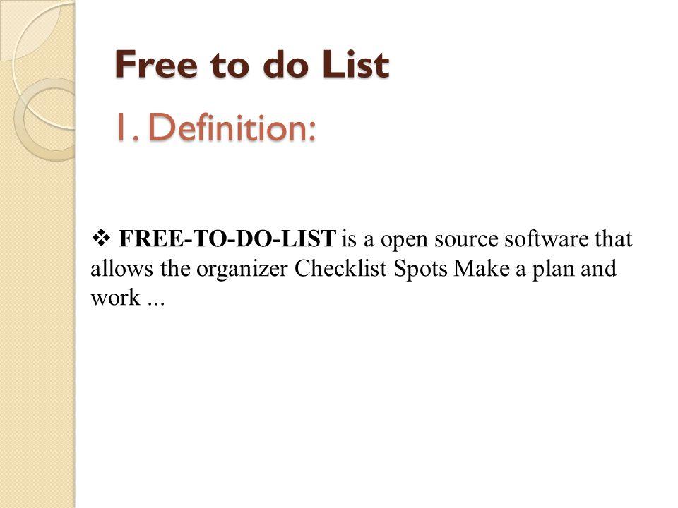 Free to do List 1.