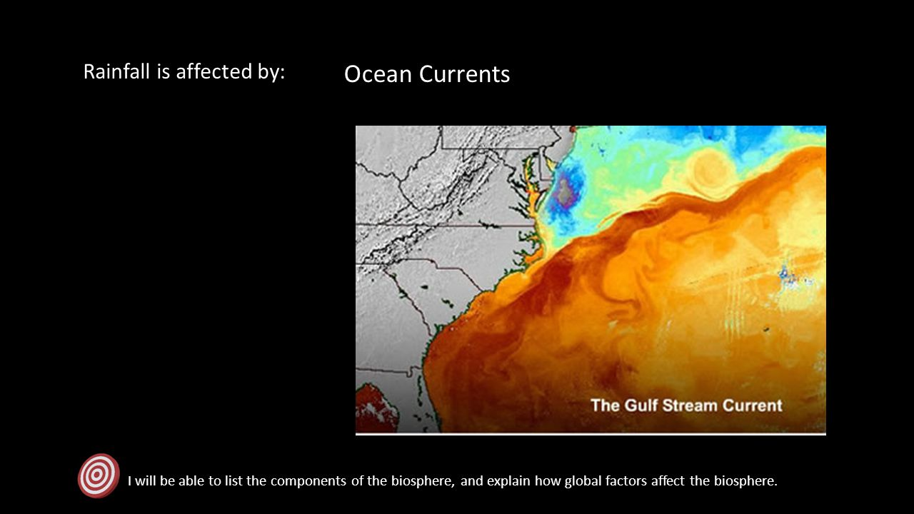 Rainfall is affected by: I will be able to list the components of the biosphere, and explain how global factors affect the biosphere. Ocean Currents