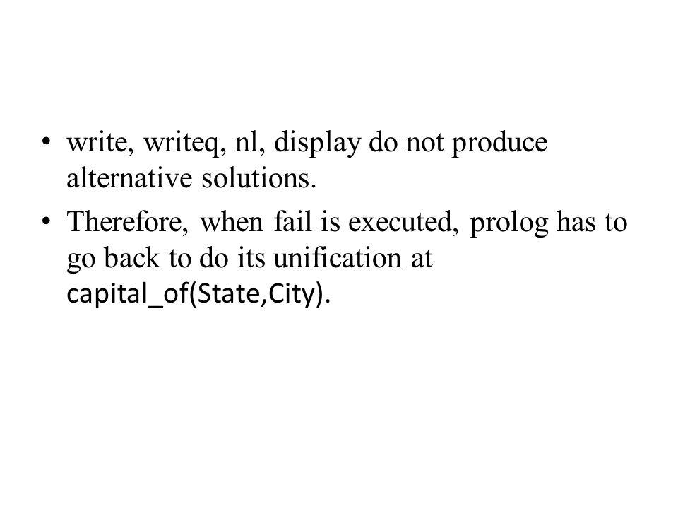 write, writeq, nl, display do not produce alternative solutions.