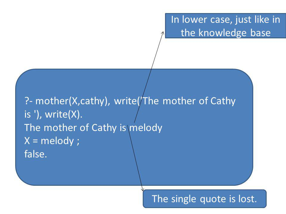 - mother(X,cathy), write( The mother of Cathy is ), write(X).