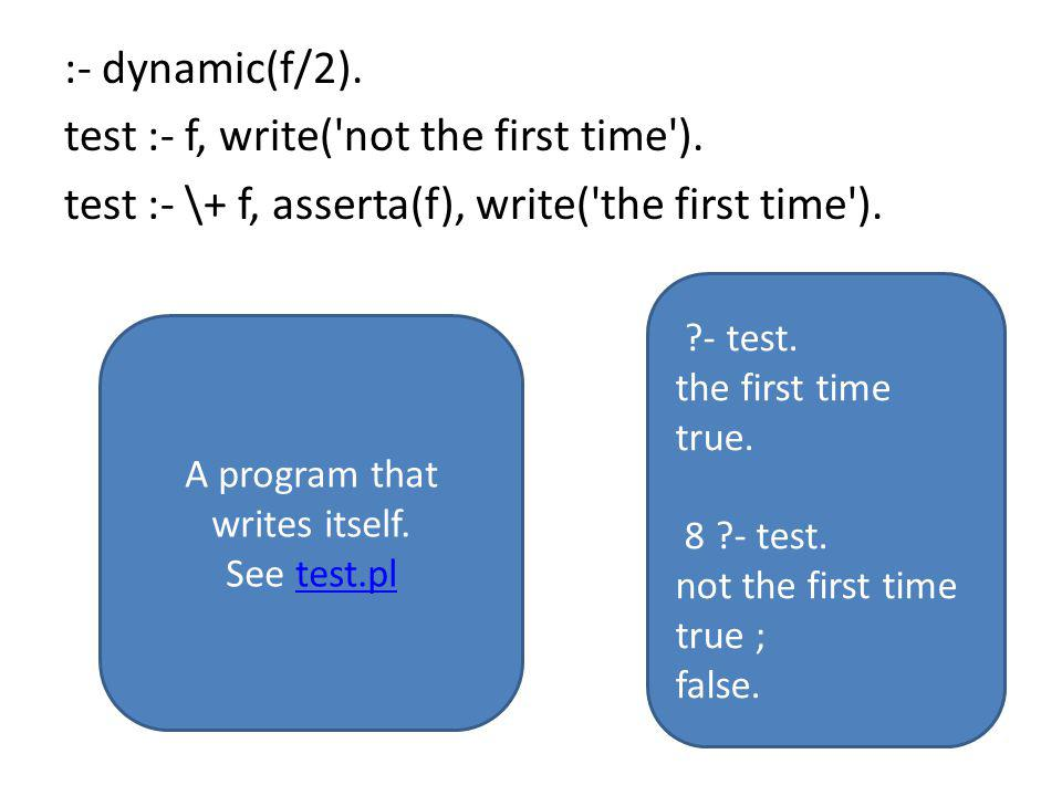 :- dynamic(f/2). test :- f, write( not the first time ).
