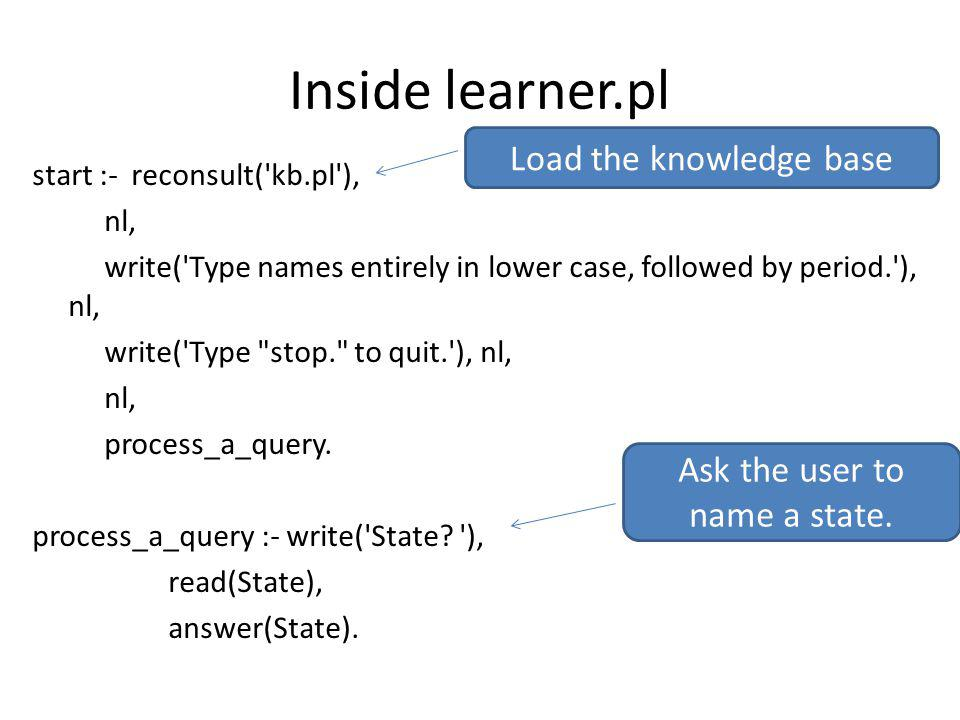 Inside learner.pl start :- reconsult( kb.pl ), nl, write( Type names entirely in lower case, followed by period. ), nl, write( Type stop. to quit. ), nl, nl, process_a_query.