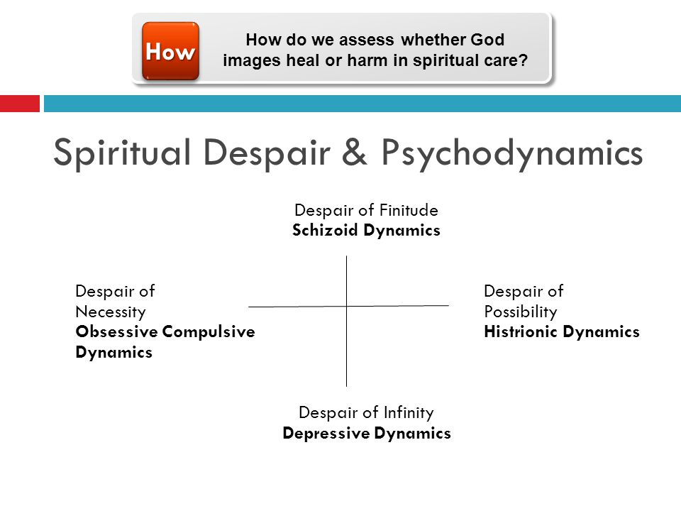Spiritual Despair & Psychodynamics Despair of Finitude Schizoid DynamicsDespair of Necessity Possibility Obsessive CompulsiveHistrionic Dynamics Dynamics Despair of Infinity Depressive Dynamics HowHow How do we assess whether God images heal or harm in spiritual care