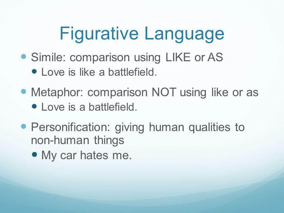 Figurative Language Simile: comparison using LIKE or AS Love is like a battlefield.