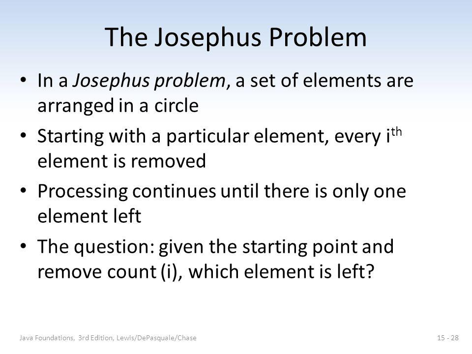 The Josephus Problem In a Josephus problem, a set of elements are arranged in a circle Starting with a particular element, every i th element is removed Processing continues until there is only one element left The question: given the starting point and remove count (i), which element is left.