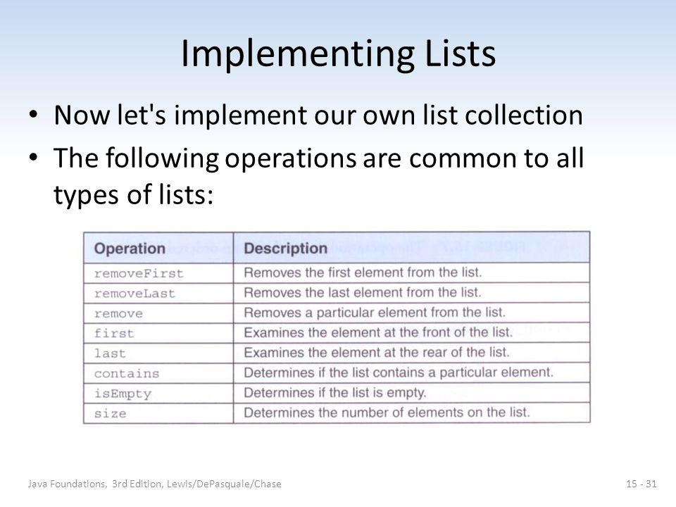 Implementing Lists Now let's implement our own list collection The following operations are common to all types of lists: Java Foundations, 3rd Editio
