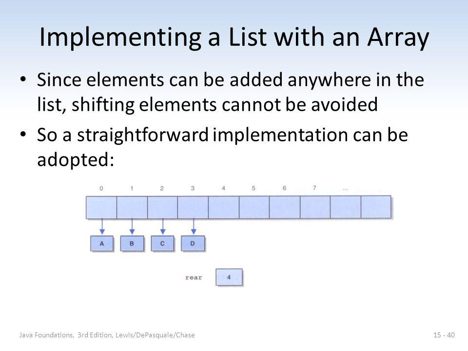 Implementing a List with an Array Since elements can be added anywhere in the list, shifting elements cannot be avoided So a straightforward implementation can be adopted: Java Foundations, 3rd Edition, Lewis/DePasquale/Chase15 - 40