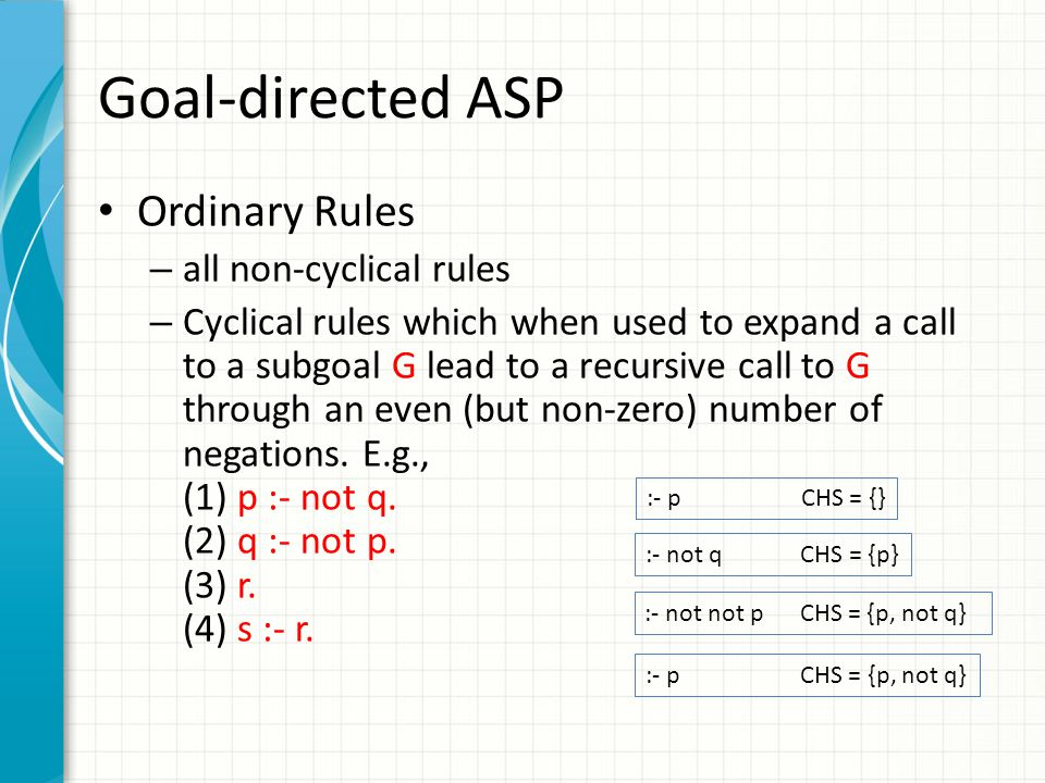 Goal-directed ASP Ordinary Rules – all non-cyclical rules – Cyclical rules which when used to expand a call to a subgoal G lead to a recursive call to