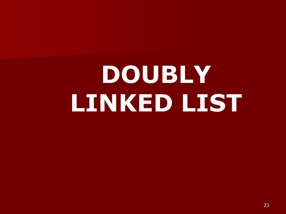 23 DOUBLY LINKED LIST