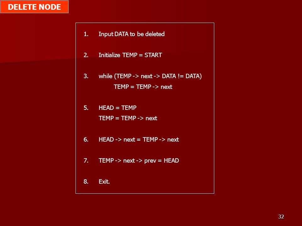 32 1.Input DATA to be deleted 2.Initialize TEMP = START 3.while (TEMP -> next -> DATA != DATA) TEMP = TEMP -> next 5.HEAD = TEMP TEMP = TEMP -> next 6