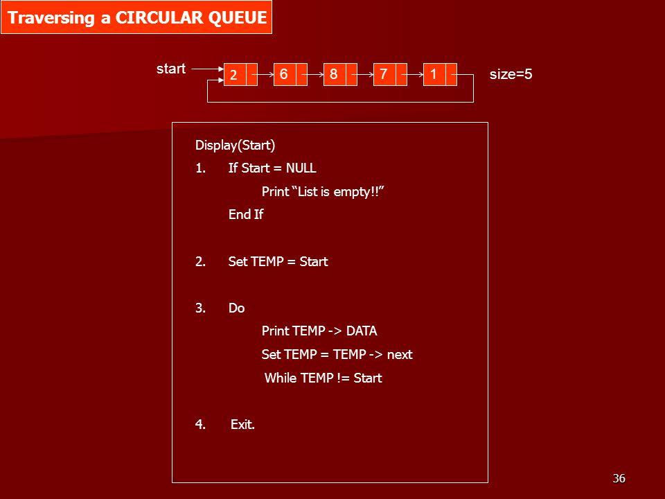 36 2 6871 start size=5 Traversing a CIRCULAR QUEUE Display(Start) 1.If Start = NULL Print List is empty!! End If 2.Set TEMP = Start 3.Do Print TEMP ->