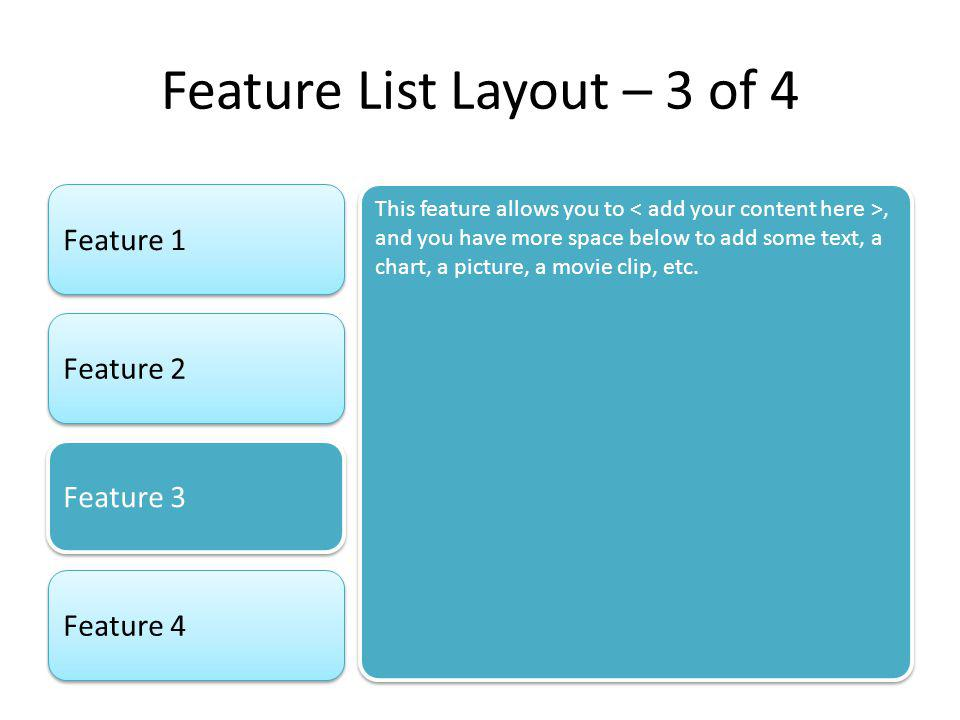 Feature List Layout – 3 of 4 Feature 1 Feature 2 Feature 3 Feature 4 This feature allows you to, and you have more space below to add some text, a cha