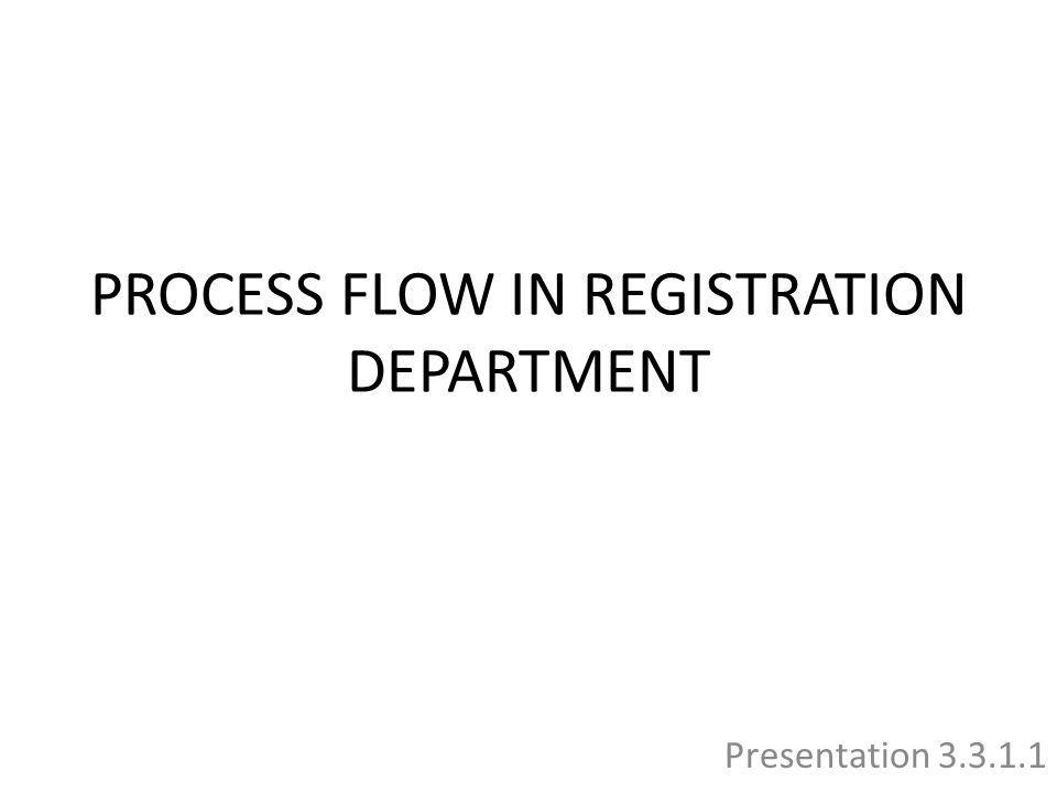 PROCESS FLOW IN REGISTRATION DEPARTMENT Presentation