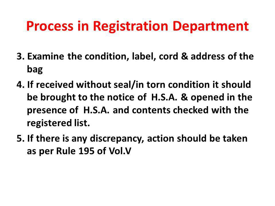 Process in Registration Department 3. Examine the condition, label, cord & address of the bag 4.