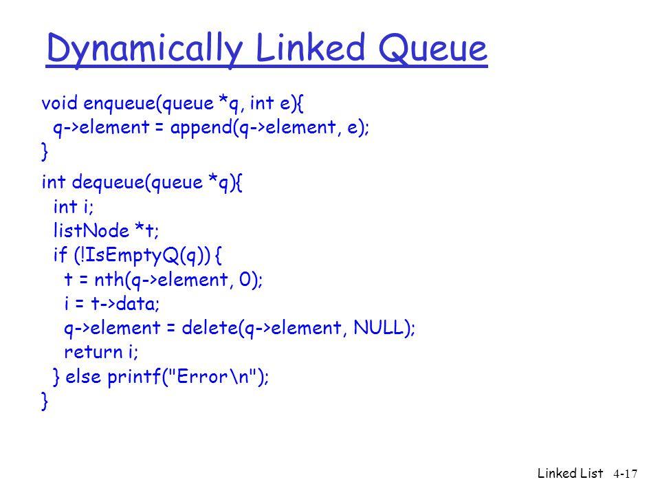 Linked List4-17 Dynamically Linked Queue void enqueue(queue *q, int e){ q->element = append(q->element, e); } int dequeue(queue *q){ int i; listNode *