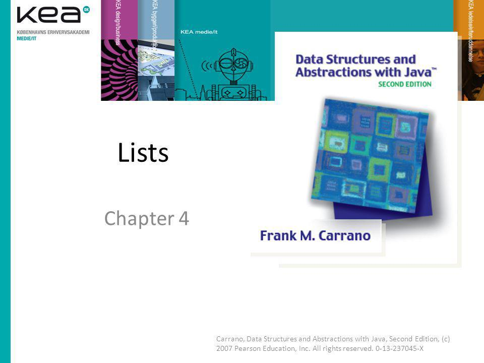 Chapter Contents Specifications for the ADT List – Redefining the Specifications Using the ADT List Using a List Is Like Using a Vending Machine Java Class Library: The Interface List