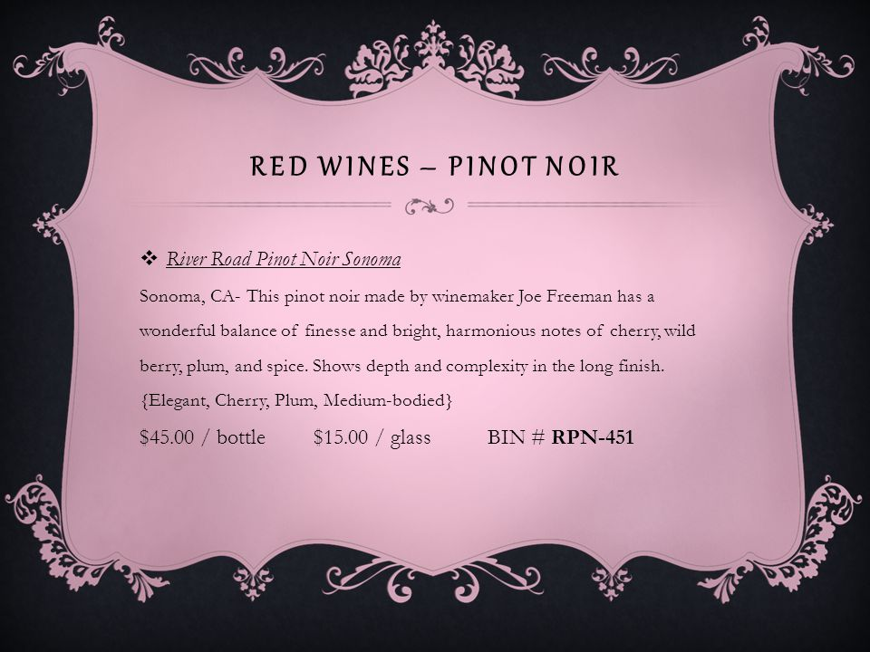 RED WINES – PINOT NOIR Cupcake Vineyards Pinot Noir Central Coast No description available.