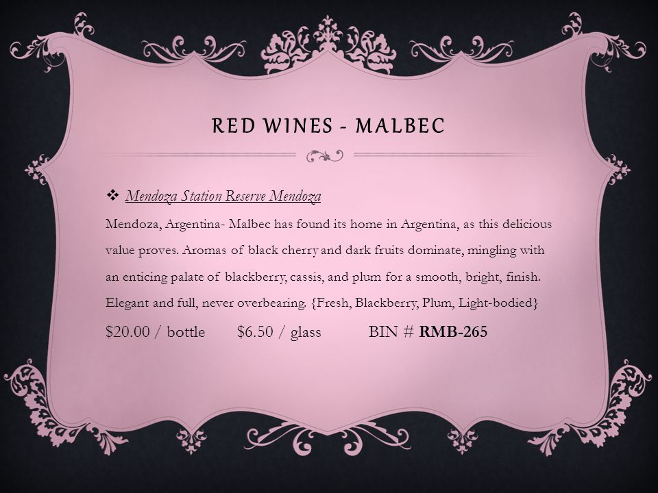 RED WINES – SYRAH / SHIRAZ Anakena Wines ONA Syrah Peumo Rapel Valley Chile- Intense fruit and ripe tannins shape this hand-harvested wine that is deep red color with aromas of raspberry and blueberry, framed by hints of clove and spice.