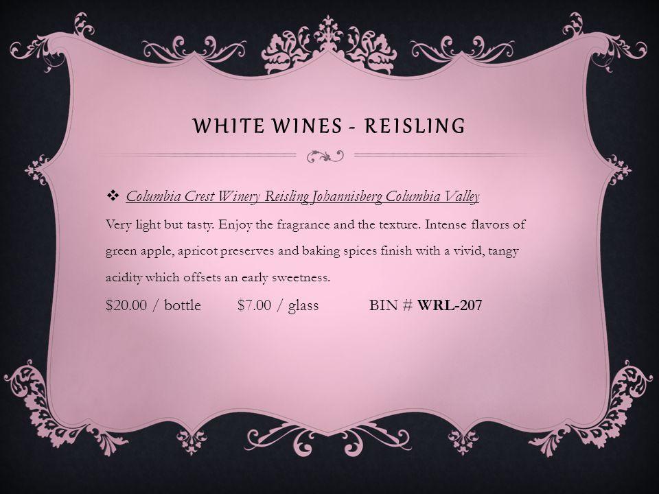 WHITE WINES – SAUVIGNON BLANC Chateau Saint Michelle Horse Heaven Vineyard Columbia Valley Good.