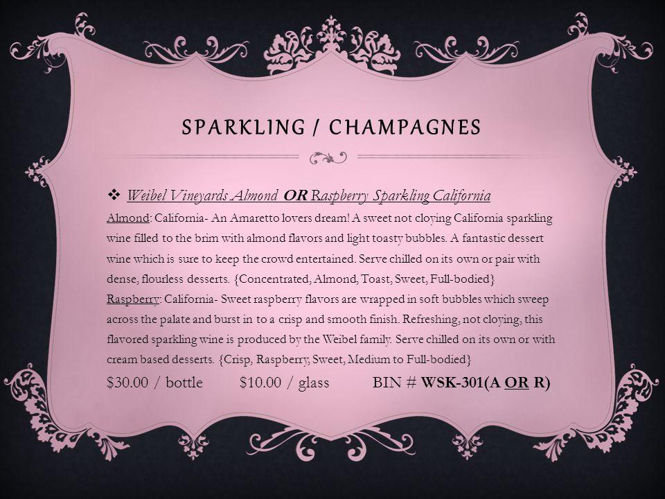 SPARKLING / CHAMPAGNES Cupcake Vineyards Prosecco OR Brut Rose Prosecco: No description available.