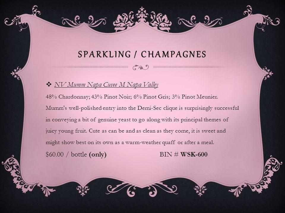 SPARKLING / CHAMPAGNES Weibel Vineyards Almond OR Raspberry Sparkling California Almond: California- An Amaretto lovers dream.