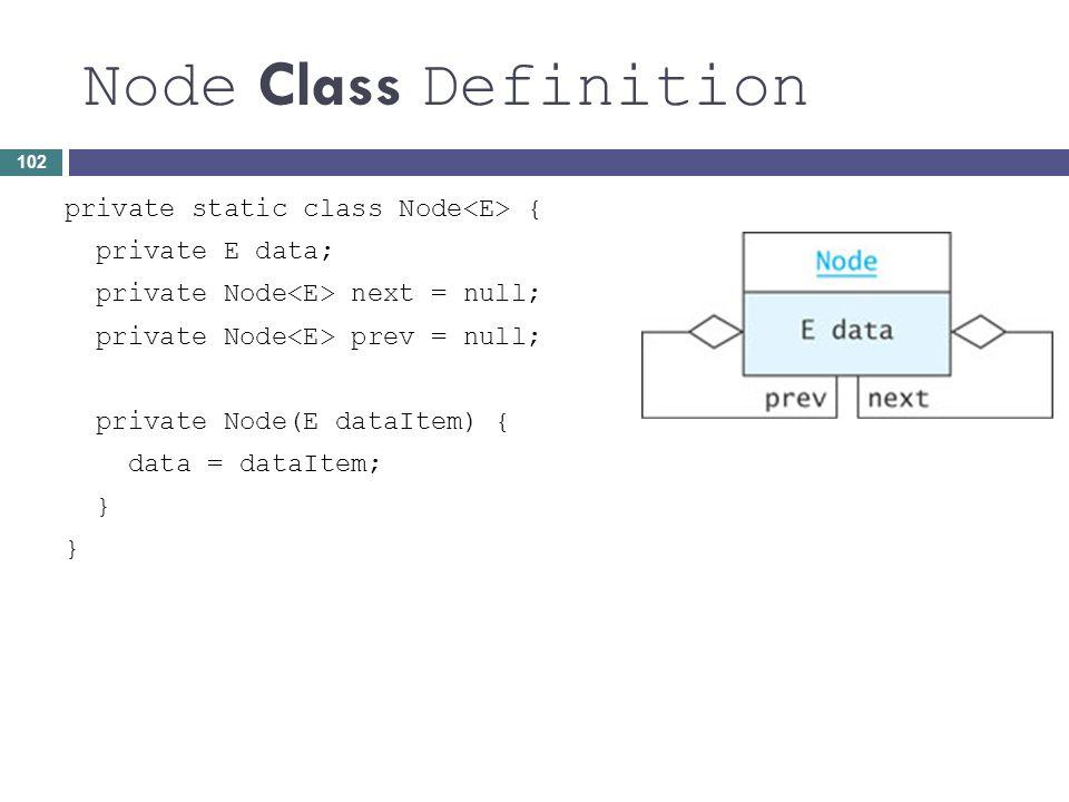 Node Class Definition private static class Node { private E data; private Node next = null; private Node prev = null; private Node(E dataItem) { data