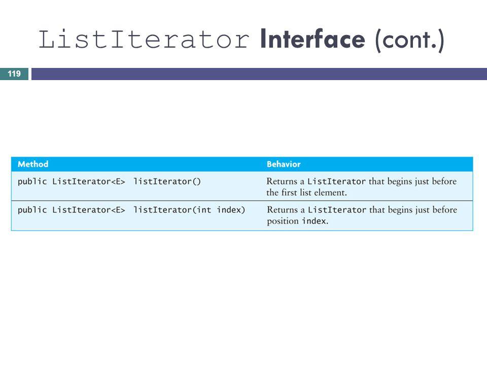 ListIterator Interface (cont.) 119