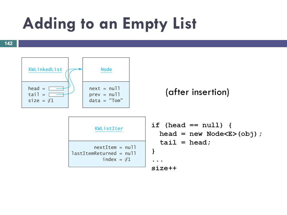 Adding to an Empty List if (head == null) { head = new Node (obj); tail = head; }... size++ (after insertion) 142