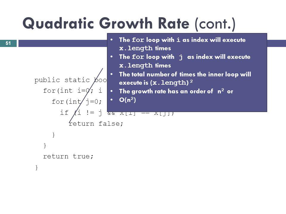 Quadratic Growth Rate (cont.) public static boolean areUnique(int[] x) { for(int i=0; i < x.length; i++) { for(int j=0; j < x.length; j++) { if (i !=