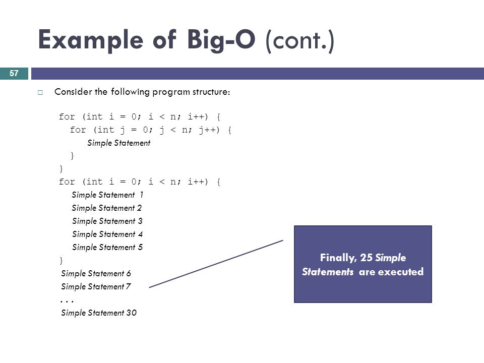 Example of Big-O (cont.) Consider the following program structure: for (int i = 0; i < n; i++) { for (int j = 0; j < n; j++) { Simple Statement } for