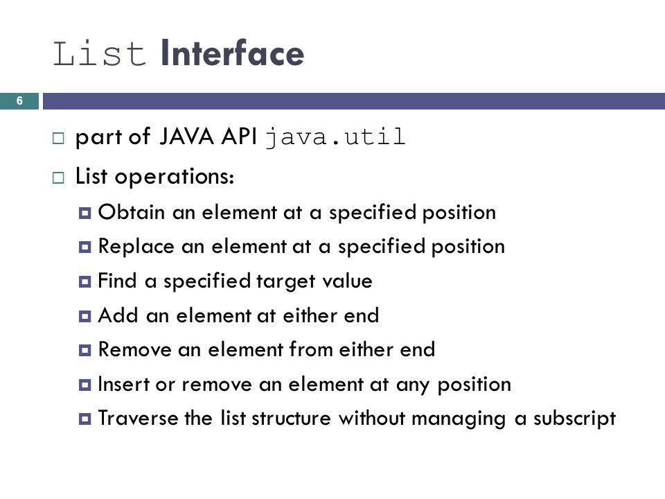 Testing OrderedList (cont.) Class TestOrderedList import java.util.*; public class TestOrderedList { /** Traverses ordered list and displays each element.