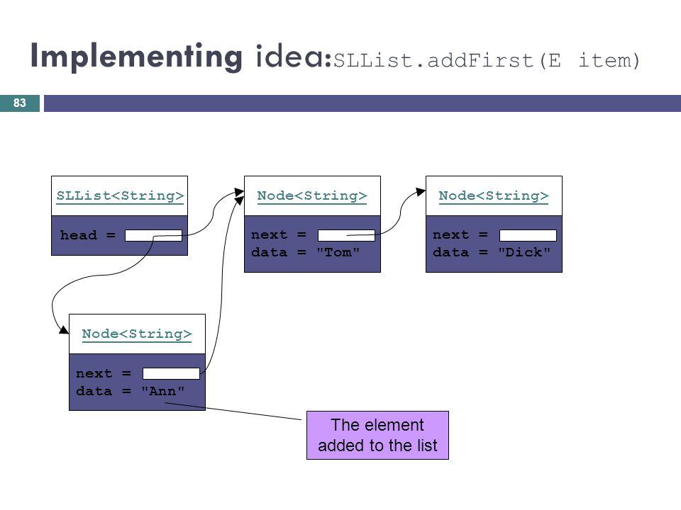 Implementing idea: SLList.addFirst(E item) head = SLList next = data =