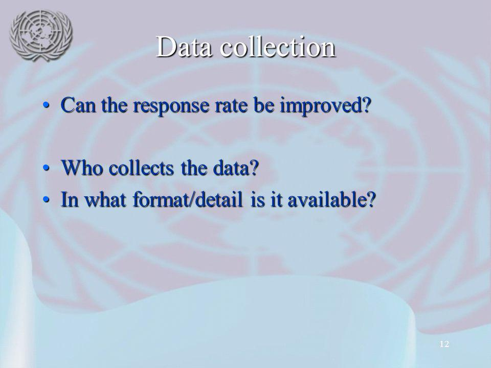 12 Data collection Can the response rate be improved Can the response rate be improved.