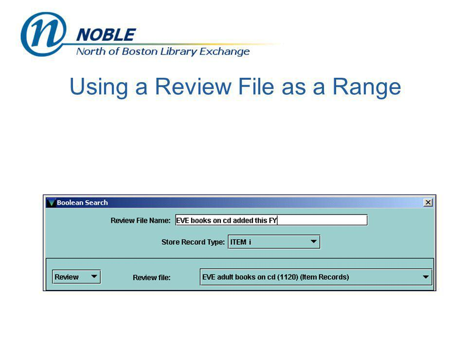Using a Review File as a Range