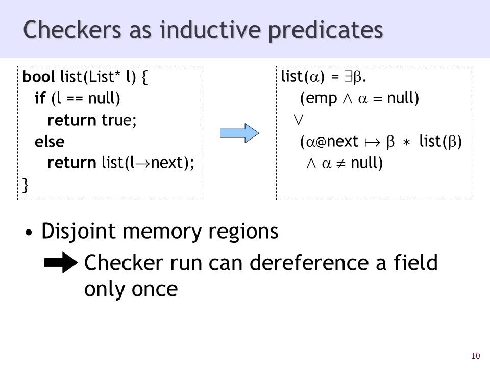 10 Checkers as inductive predicates Disjoint memory regions Checker run can dereference a field only once bool list(List* l) { if (l == null) return true; else return list(l .
