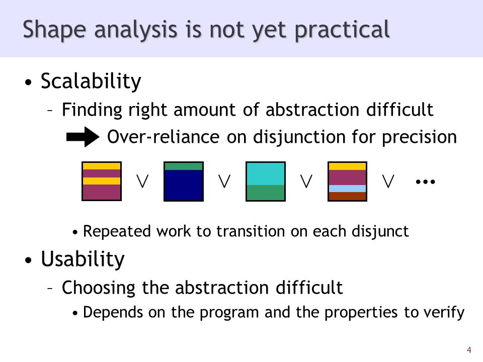 4 Scalability –Finding right amount of abstraction difficult Over-reliance on disjunction for precision Repeated work to transition on each disjunct Usability –Choosing the abstraction difficult Depends on the program and the properties to verify Shape analysis is not yet practical Ç ÇÇÇ …